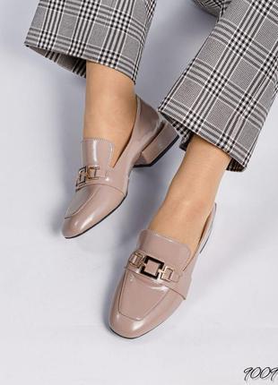Кожаные лаковые лоферы натуральная кожа женские туфли