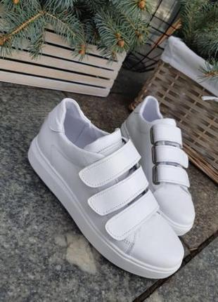 Белые кожаные кеды на липучках кроссовки Белые Кожа женские