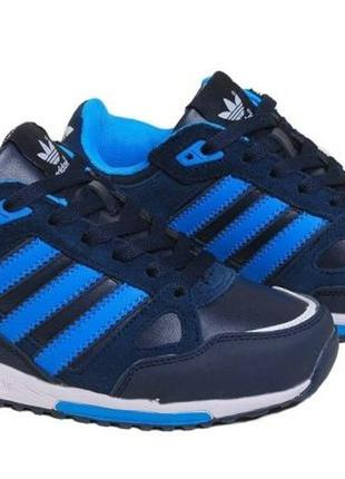 Женские кроссовки Adidas ZX 750 тёмно синие кожа замша 37
