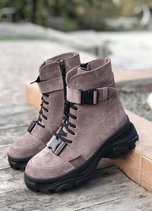 Крутые женские зимние ботинки {натуральная замша}