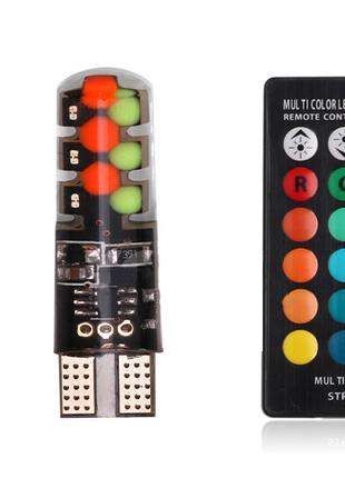 Светодиодные LED RGB лампы ДХО T10 W5W стробоскоп 16 цветов пульт