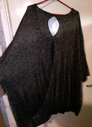 Роскошная,нарядная,трикотаж,чёрная с золотом-туника-платье для...