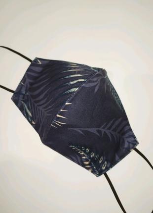 Многоразовая маска пальмовые листья синяя