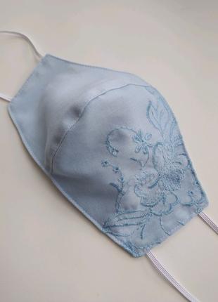 Голубая женская маска хлопок с вышивкой