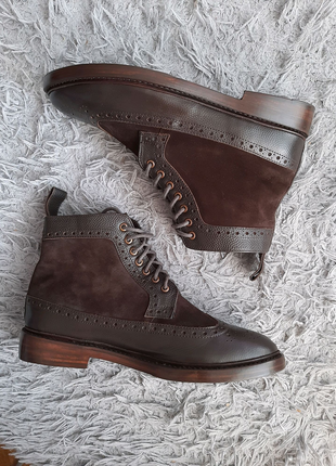 Ботинки броги Hackett London brown brogue two tone boots