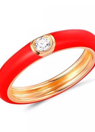 Серебряное кольцо с красной эмалью sunlight