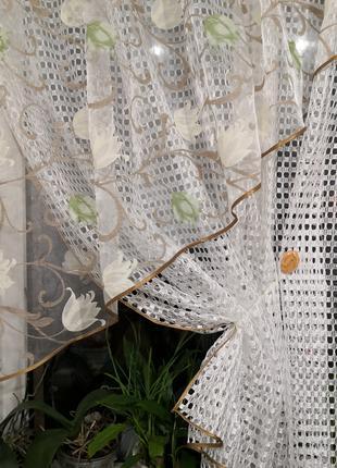 Занавеска штора тюль крупная сетка уголок