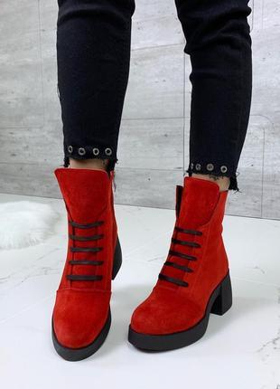 Шикарные высокие замшевые ботинки на каблуке,яркие ботинки из ...