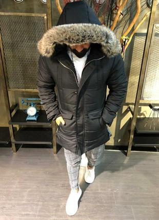 Премиум куртка мужская зимняя черная