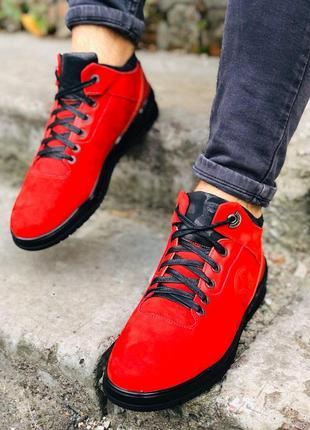 Мужские зимние ботинки из нубука, красные