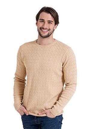 Мужская коттоновая теплая вязаная кофта свитер в косичку cotto...
