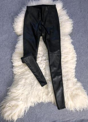 Штаны брюки лосины кожаные кожа эко утеплённые зимние флис
