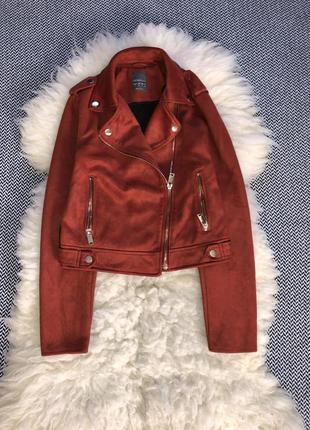 Косуха куртка замшевшая кирпичная эко замш укороченная плотная...