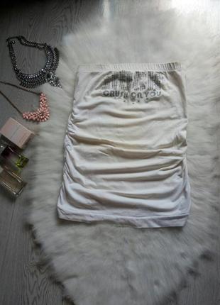Белая майка на резинке с принтом рисунком по груди хлопок бандо