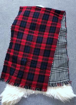 Двухсторонний клетчатый шарф палантин клетка огромный большой ...
