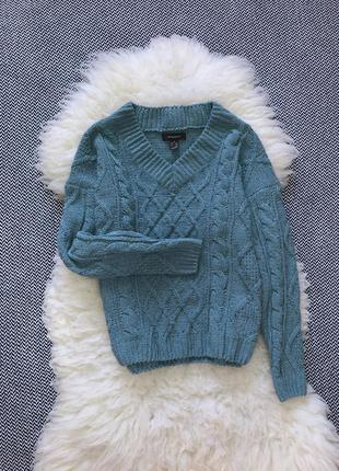 Велюровый свитер кофта синель вязаный косы
