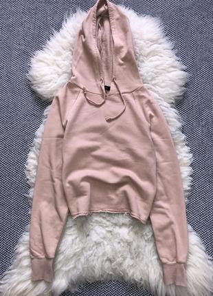 Пудровое худи кофта капюшон укорочен утеплён