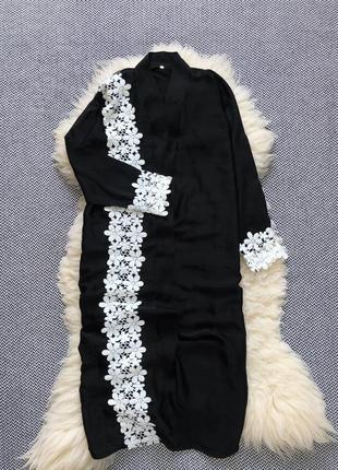 Домашний халат длинный миди макси кружево дома