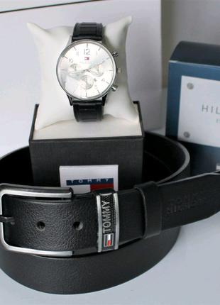 Мужской подарочный набор Tommy Hilfiger часы и ремень black