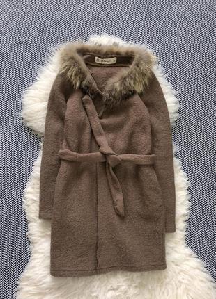 Пальто кардиган кемел бежевый пояс мех енота шерсть