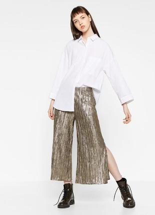 Zara шикарные золотистые брюки кюлоты плиссе