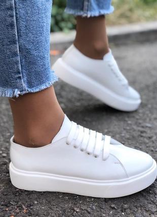 Кеды кроссовки женские кожаные демисезонные белые 36-40