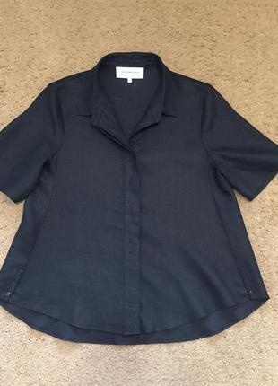 Льняная блуза рубашка а-силуэта трапеция collectif mon anour