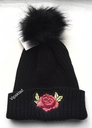 Шапка с розой и помпоном,меховым, демисезон, шапочка зимняя, в...