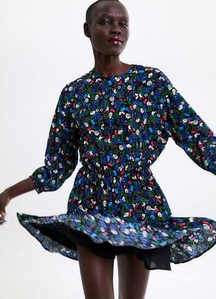 Платье комбинезон в цветочный принт от zara