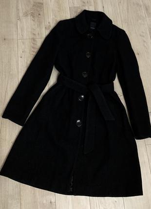 Тёплое черное женское базовое шерстяное пальто размер м - л ve...