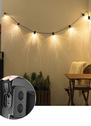 Светильник ретро гирлянда 10 ламп Эдиссона на солнечной батарее