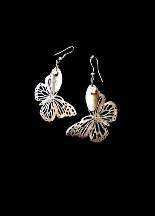 Серьги винтажные ажурные изящные бабочки под серебро подвеска ...