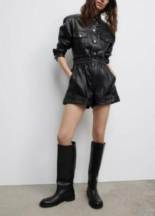 Zara шорты из искусственной кожи черный чёрный