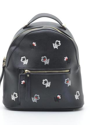 Рюкзак женский городской/ черный повседневный с цветочками