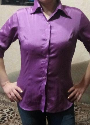 Блузка рубашка женская короткий рукав стрейч приталенная 46-48 МЛ