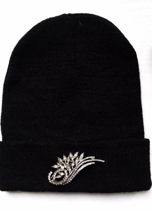 Шапка вязаная, зимняя демисезонная, шапочка, черная, взрослая,...