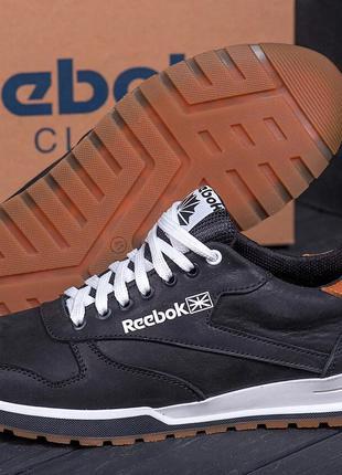 Мужские кожаные кроссовки  Reebok Classic Leather Trail  black