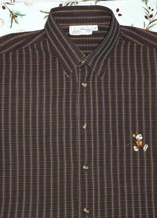🎁1+1=3 крутая темная рубашка в клетку с микки-маусом disney, р...