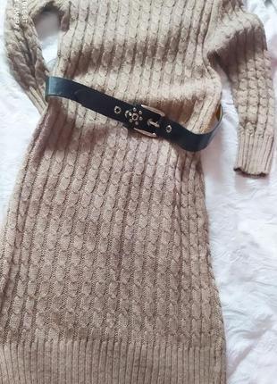 Платье свитер с поясом
