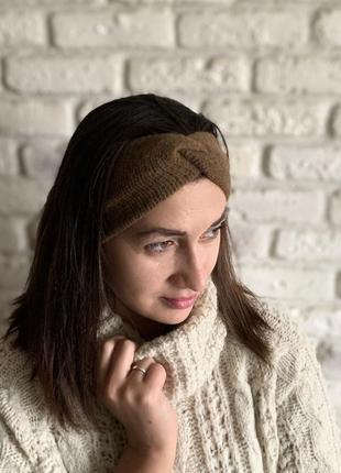 Женская теплая повязка на голову, чалма ангорка коричневая