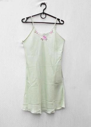 Ночная рубашка сорочка ночнушка с вышивкой из натурального шел...