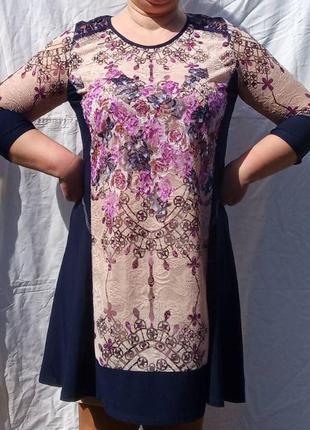 Нарядное платье с вышивкой гиипюр на подкладке 54,56,58,60,62