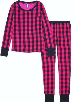 Теплый длинный пижамный комплект