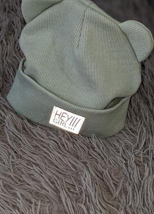 Детская шапка демисезон с ушками 50-52рр нова