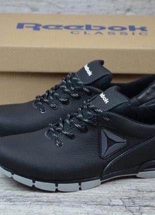 Мужские кожаные кроссовки reebok чёрные