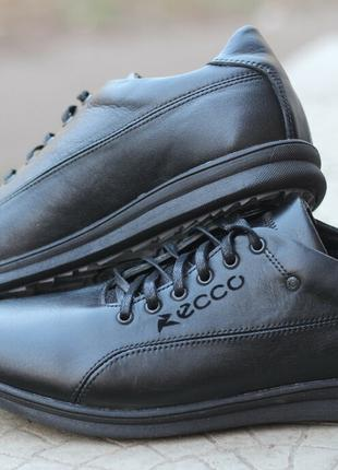 Кожаные туфли кроссовки ecco чёрные