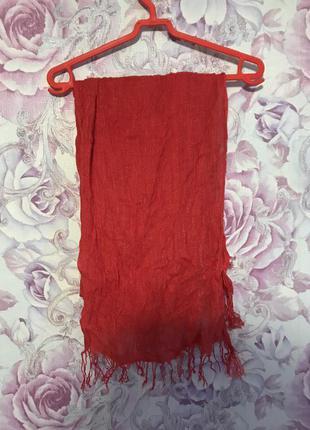 Красный шарф палантин хлопок