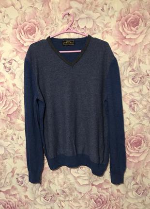 Мужской синий свитер кашемир размер l