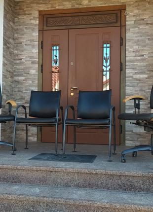 Кресло кожаное пара для офиса, комплект шкіряних офісних крісел S