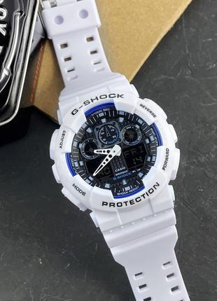 Casio G-Shock GA-100 White-Blue-Black мужские